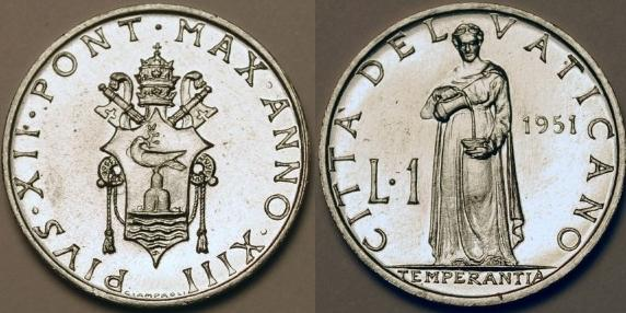 1951 Vatican 1 Lira Coin TEMPERANCE Photo