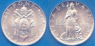 1951 Vatican 2 Lire Coin FORTITUDE Photo