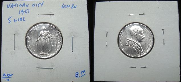 1951 Vatican 5 Lire Coin JUSTICE Photo