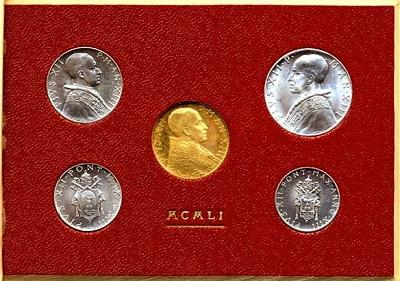 1951 Vatican Mint Set with 100L Gold Coin BU Photo