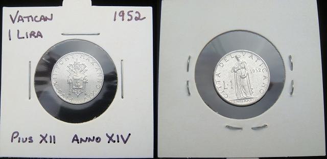 1952 Vatican 1 Lira Coin TEMPERANCE Photo