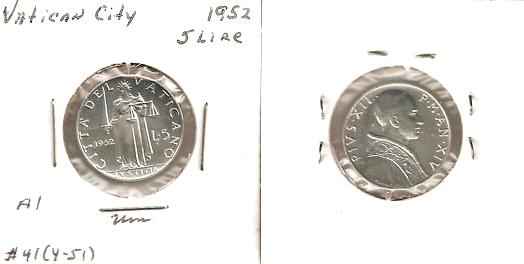 1952 Vatican 5 Lire Coin JUSTICE Photo