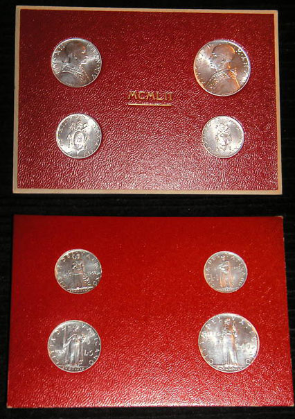 1952 Vatican Mint Coin Set, 4 Coins BU Photo