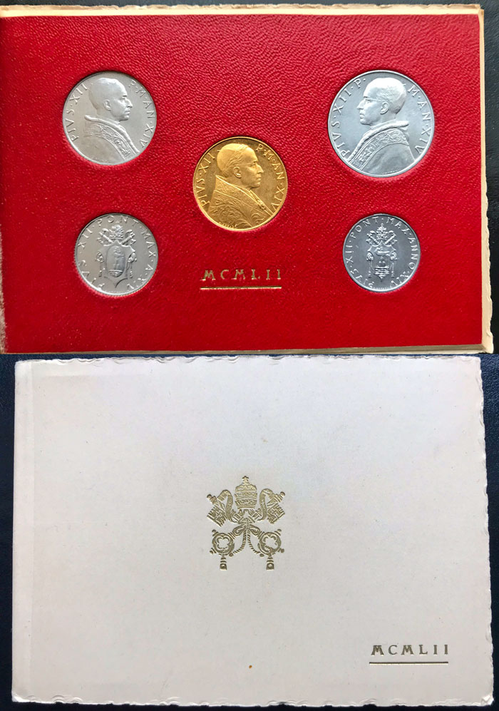 1952 Vatican Mint Set with 100L Gold Coin BU Photo