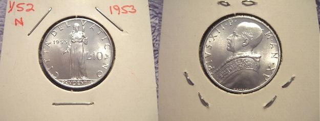 1953 Vatican City 10 Lire Coin Photo
