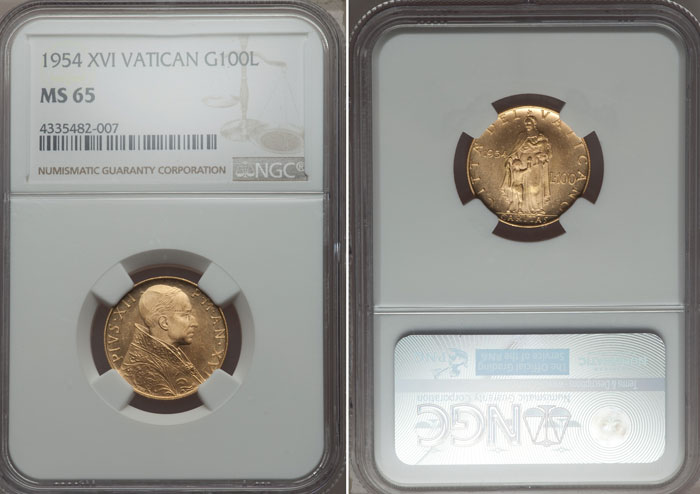 1954 Vatican 100 Lire Gold Coin NGC MS65 Photo