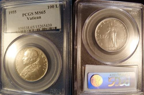 1955 Vatican 100L Steel Coin PCGS MS65 Photo