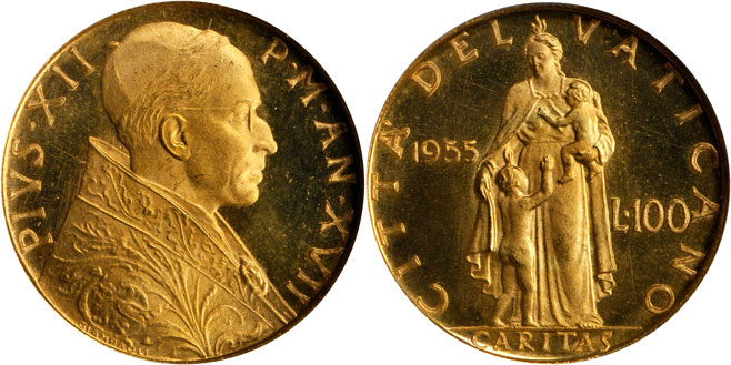 1955 Vatican 100 Lire Gold Coin NGC MS65 Photo