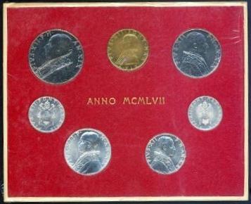 1957 Vatican Mint Set, 7 Coins BU Photo