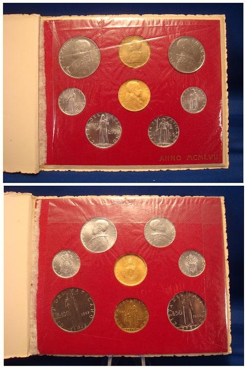 1957 Vatican Mint Set With 100 Lire Gold Coin BU Photo
