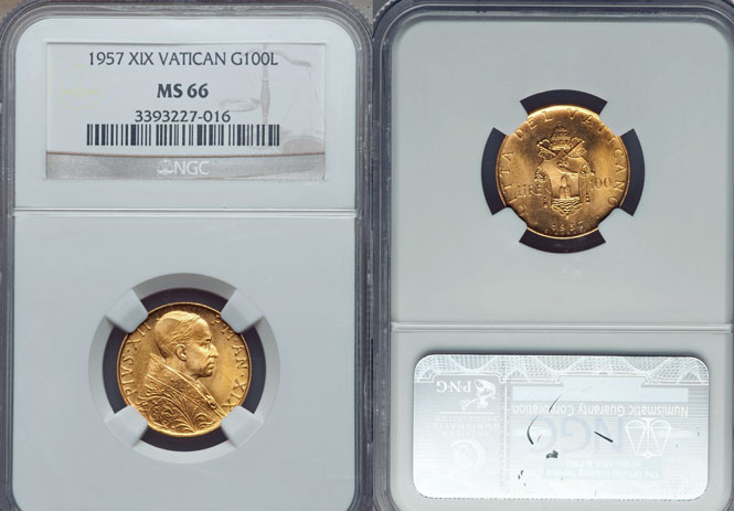 1957 Vatican 100 Lire Gold NGC MS66 Photo