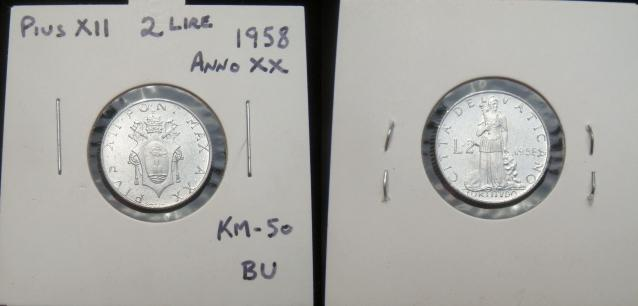 1958 Vatican 2 Lire Coin FORTITUDE Photo