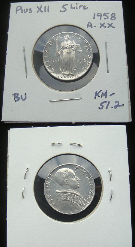 1958 Vatican 5 Lire Coin JUSTICE Photo