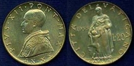 1958 Vatican 20 Lire Coin CHARITY Photo