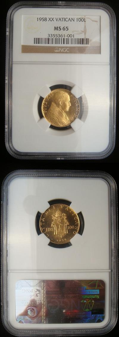 1958 Vatican 100 Lire Gold MS65 Photo
