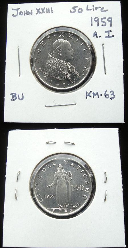 1959 Vatican 50 Lire Coin, Goddess Spes Photo