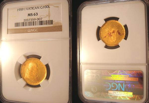 1959 Vatican 100 Lire Gold Coin NGC MS63 Photo