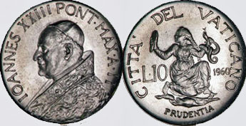 1960 Vatican 10 Lire PRUDENCE Coin Photo