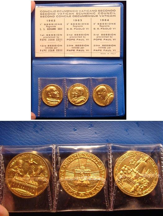 1962-64 Trio of Ecumenical Council Medals Gilt Photo