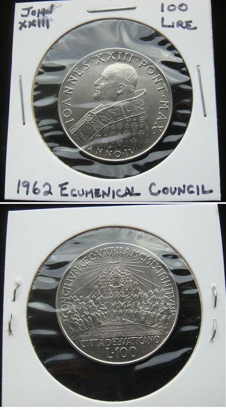 1962 Vatican 100 Lire Vatican II Coin Photo