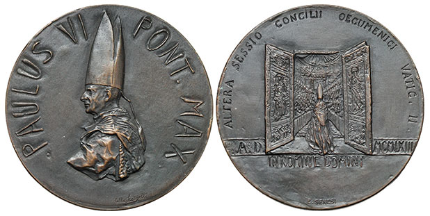 Paul VI 1963 2nd Session Vatican II Bronze Photo