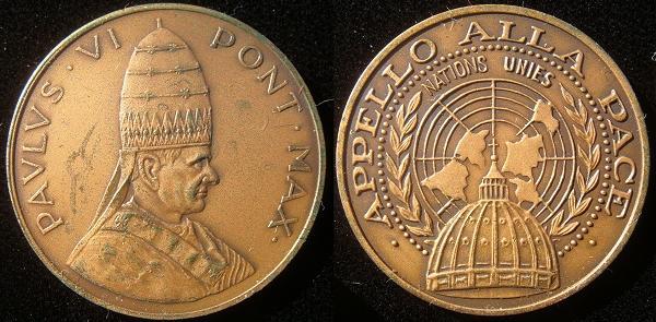 Paul VI 1965 U.N. Appeal for Peace Medal Photo