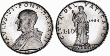 1964 Vatican 10 Lire PRUDENCE Coin Photo