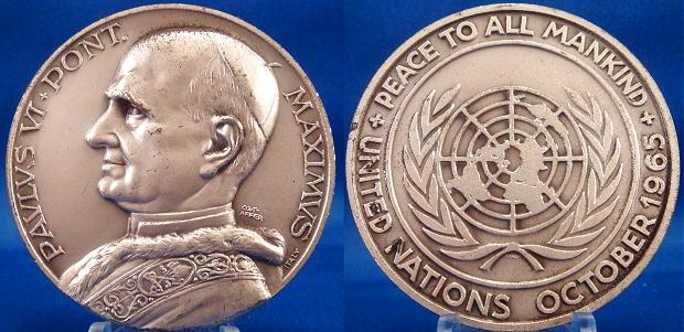 Paul VI 1965, October U.N. Visit Medal 50mm Photo