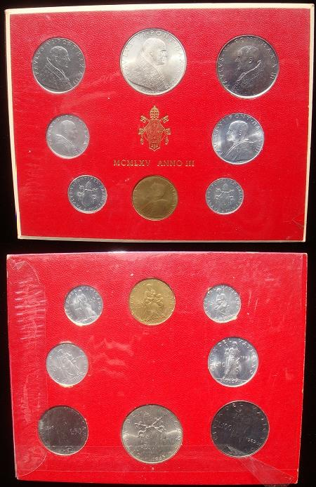 1965 Vatican Mint Set, 8 Coins BU Photo