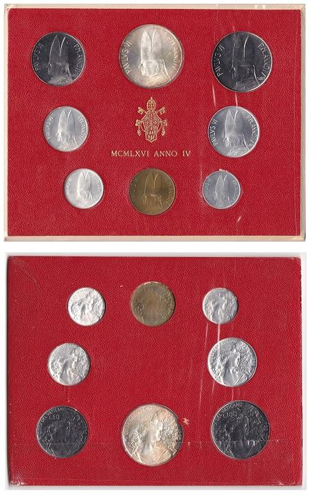 1966 Vatican Mint Coin Set, 8 Coins BU Photo