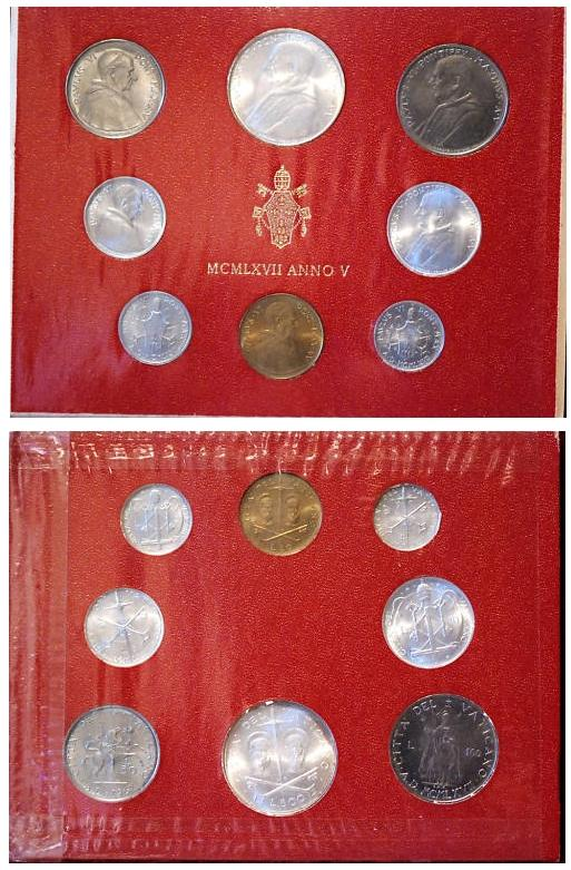 1967 Vatican Mint Coin Set, 8 Coins BU Photo