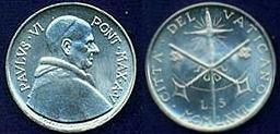 1967 Vatican City 5 Lire BU Photo