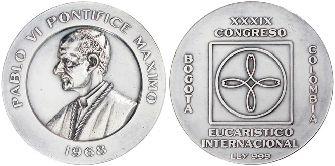 1968 Colombia Medal Eucharistic Congress 44mm Photo