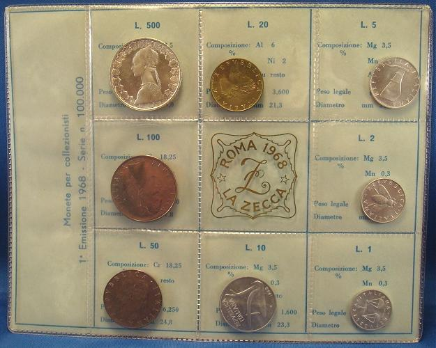 1968 Italy Coin Set, 8 Lire Coins B/U Photo