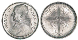 1968 Vatican 1 Lira Coin Photo