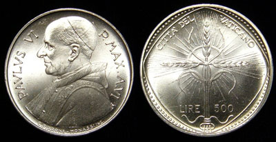 1968 Vatican 500 Lire Silver Coin, F.A.O. Photo