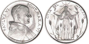 1968 Vatican 5 Lire Our Lady of the Harvest Coin Photo