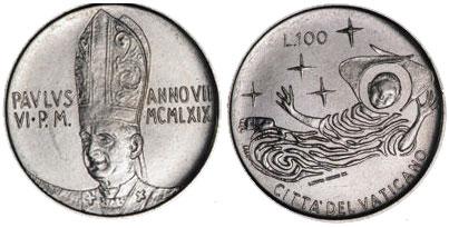 1969 Vatican 100 Lire Angel Coin Photo