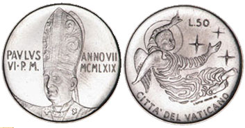 1969 Vatican 50 Lire Angel Coin Photo