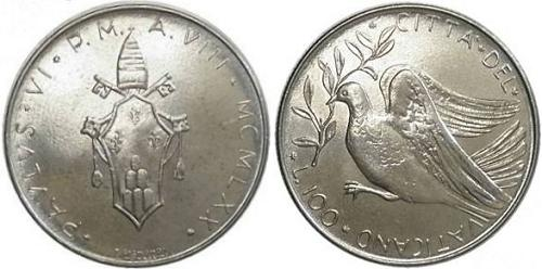 1970 Vatican 100 Lire Coin Dove-Olive Branch Photo