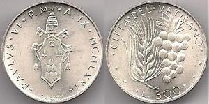 1971 Vatican 500 Lire Silver Coin B/U Photo