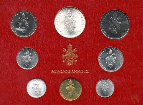 1971 Vatican Mint Set, 8 Coins BU Photo