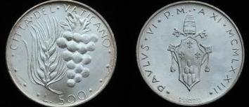 1973 Vatican 500 Lire Silver Coin B/U Photo