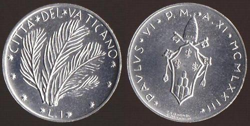 1973 Vatican 1 Lira Coin PALMS Photo