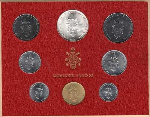 1973 Vatican Mint Set, 8 Coins BU Photo