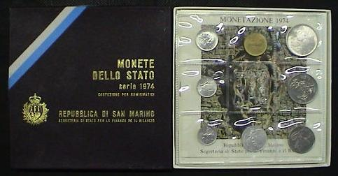 1974 San Marino Mint Set, 8 Coins B/U Photo