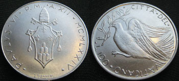 1974 Vatican 100 Lire Dove of Peace Coin Photo
