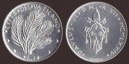 1974 Vatican 1 Lira Coin PALMS Photo