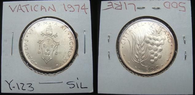1974 Vatican 500 Lire Silver Coin Photo