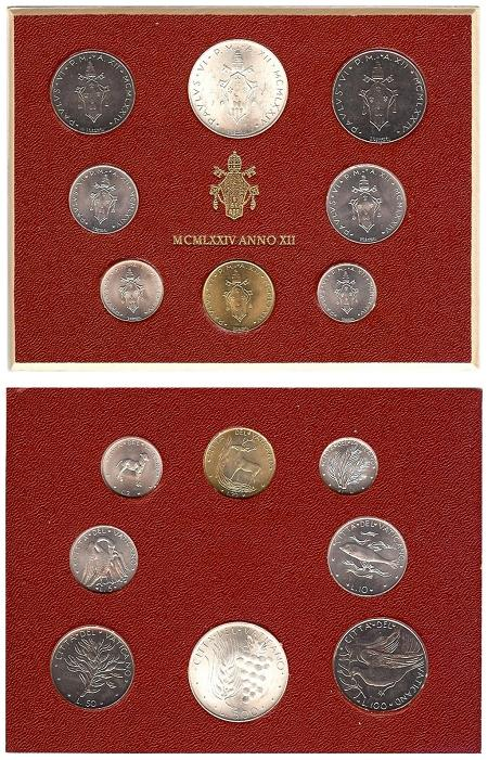 1974 Vatican Mint Coin Set, 8 Coins BU Photo